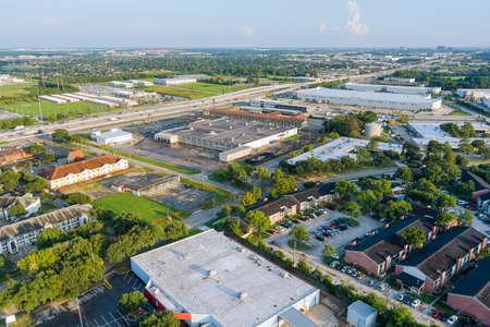 20 SEPTEMBER 2021 Houston, TX USA: Panorama overlooking view mall plaza shopping near 45 interchanges sn Houston city Texas USA.