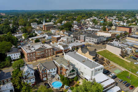 Aerial view of single family homes, a residential district East Brunswick New Jersey USA