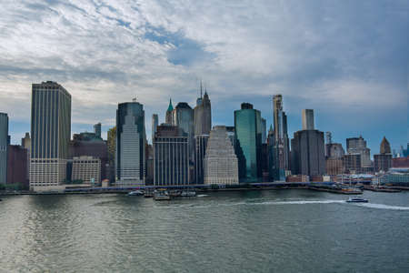 Aerial view over the Manhattan skyline view the across Hudson river New York City