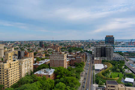 Panoramic view of New York City of landscape skyline buildings in the Brooklyn downtown view