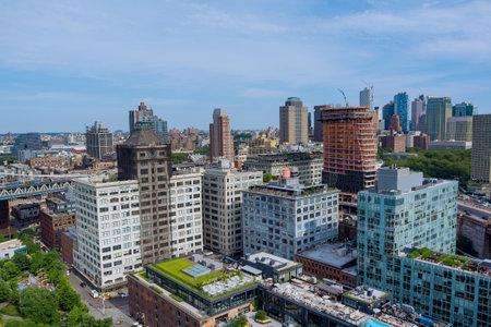 Aerial view Brooklyn Bridge in New York majestic downtown Brooklyn skyline in USA