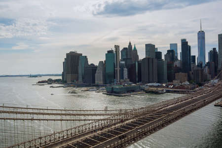 Aerial top panorama beautiful cityscape Manhattan overview Brooklyn bridge in New York City United States America
