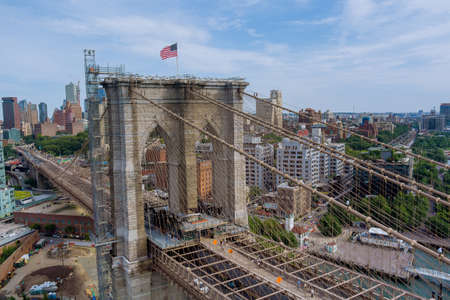 Brooklyn Bridge panoramic view of the Brooklyn downtown skyline buildings in New York City of landscape USA