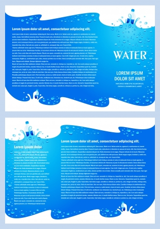 drops of water: brochure folder water aqua splash bootle element design  cmyk, no transparent