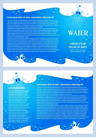 brochure folder water aqua splash bootle element ontwerp  CMYK, geen transparante Stock Illustratie