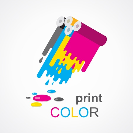 cmyk print colored roll Vector