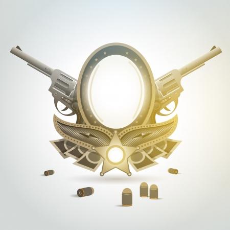 revolver gun patron weapon sheriff element emblem Vectores