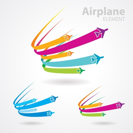airplane flight tickets air fly travel takeoff colorful element set
