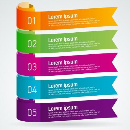number list ribbon roll strip colored element set