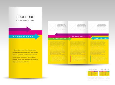 brochure design template tri-fold layout arrow colored