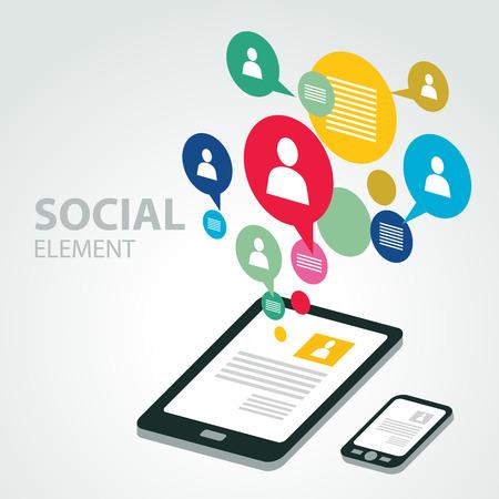 Lment du groupe icône sociale Banque d'images - 55380956