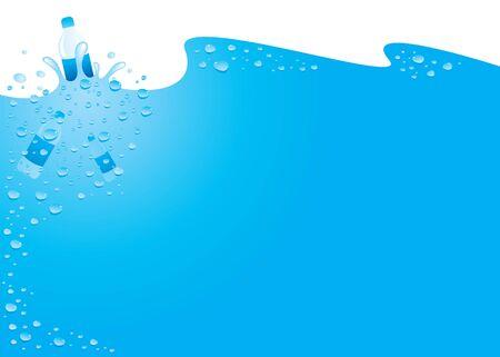 background water drops blue bottle Vectores