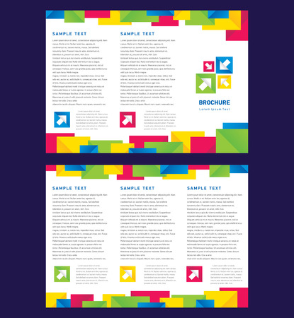 Vector Brochure Tri-fold Layout Design Template colorful squares on white background