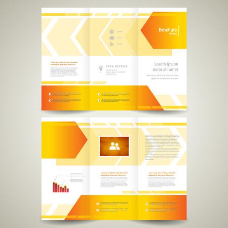 brochure folder leaflet geometric abstract element arrow line orange white background