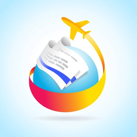 airplane flight air fly travel takeoff blue globe tickets element Vectores