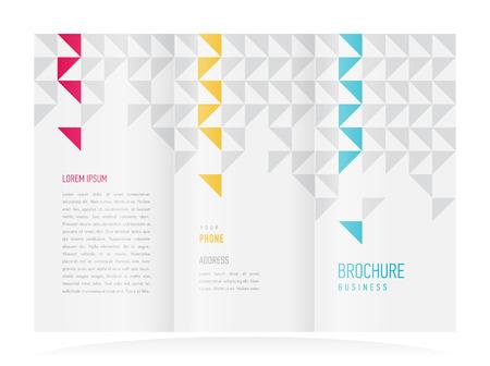 threefold: brochure design template vector tri-fold abstract triangles Illustration