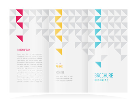 brochure design template vector tri-fold abstract triangles Vectores