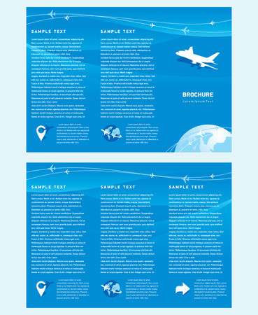white fly: Vector brochure tri-fold layout design template airplane takeoff flight tickets air fly cloud sky blue white color travel background