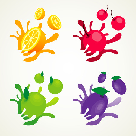 fruit splash set Vectores