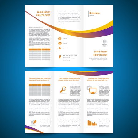 yellow line: brochure folder leaflet color yellow line white background
