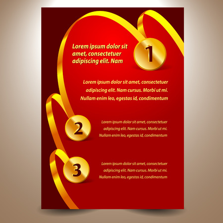 blank design template certificate ribbon award medal element gold red background