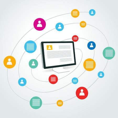 sociale icoon groep element computer pc-scherm Stock Illustratie