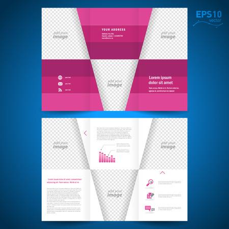 conception: brochure dossier dépliant géométriques rhodos triangles abstraites alignent fond rouge, bloc pour les images