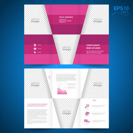 brochure design: brochure folder leaflet geometric abstract triangles rhombus line red background, block for images Illustration