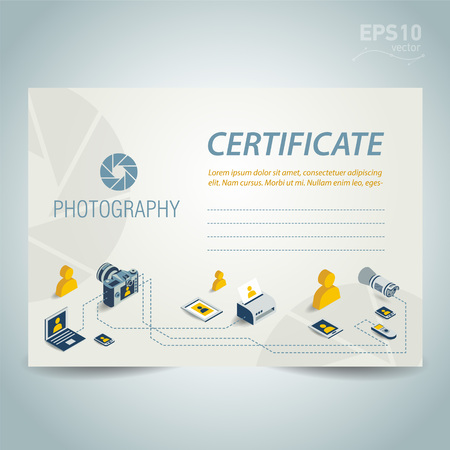 certificate design: photography certificate template design vector photo camera professional element icons