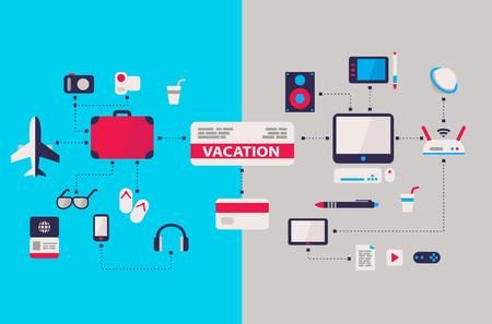 computer work and vacation airplane ticket scheme flat design Иллюстрация