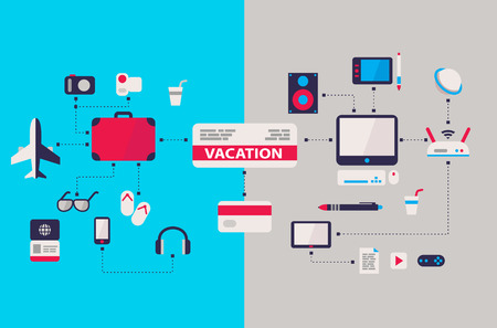 computer work and vacation airplane ticket scheme flat design Vectores