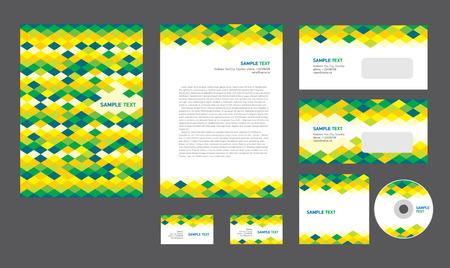 Professional corporate identity creative design brandbook blue green yellow white color business style rhomb