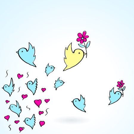 flower heart: birds and flower heart love fly group element color object sketch background