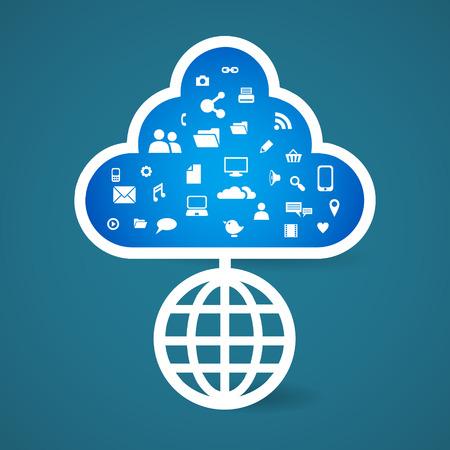 globe tree social media icon