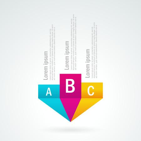 nummer lijst perspectief pijlcurseur element gekleurd Stock Illustratie