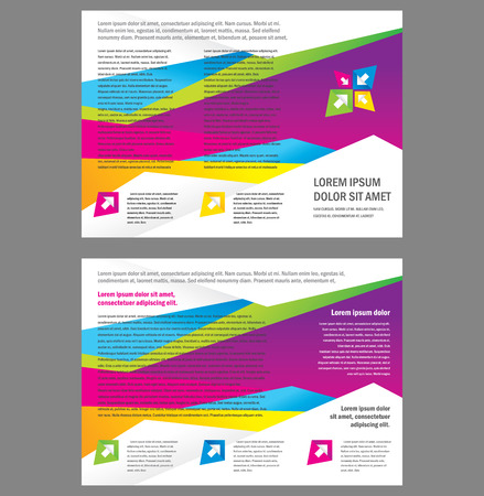 Brochure Tri-fold Layout Design Template triangles colorful Vector