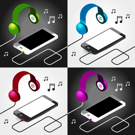 music player headphones seamless Vectores
