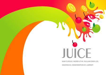 jugo de frutas: líquido gotas de zumo de fruta salpicaduras de colores de fondo Vectores