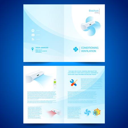 booklet catalog brochure folder air conditioner - conditioning ventilation system Иллюстрация