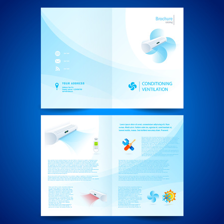booklet catalog brochure folder air conditioner - conditioning ventilation system Vectores