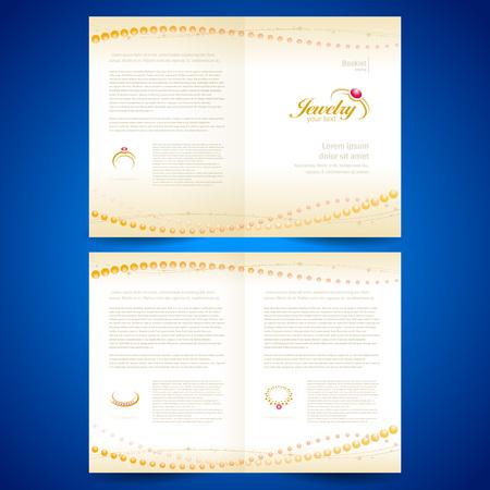 boekje catalogus brochure folder sieraden sieraden ringen gouden sieraden Stock Illustratie