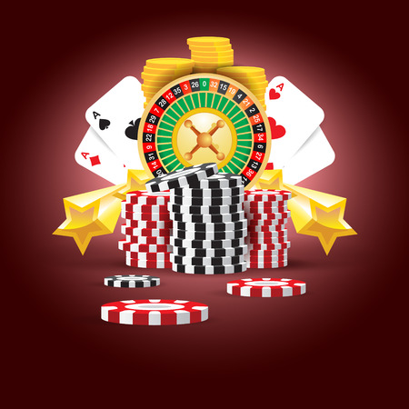casino european roulette money cards game red black background