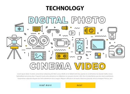 Set icônes Cocept photo numérique cinema vidéo Vecteurs