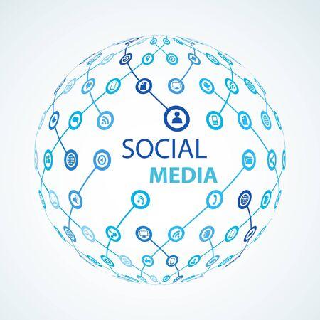 social media-element icoon bol wereldwijd Stock Illustratie
