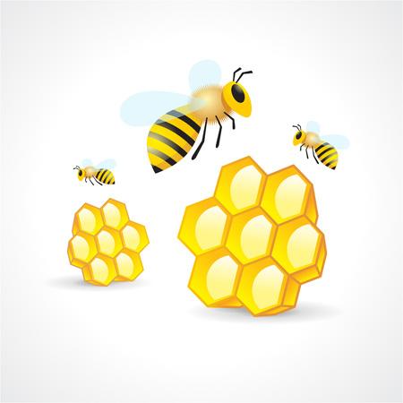 honey mead bee honeycomb element Vectores