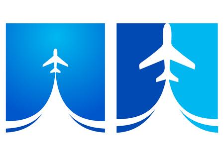 airplane flight tickets air fly cloud sky blue travel background takeoff Иллюстрация