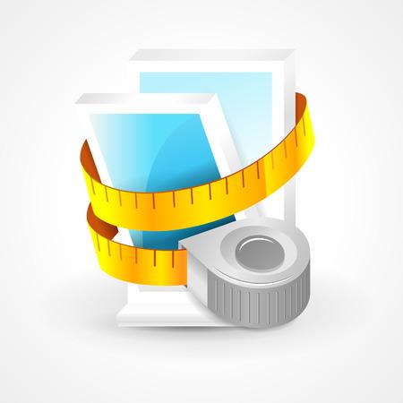tape measure window plastic element icon Иллюстрация