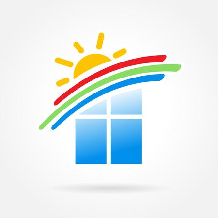 construction firm: window emblem sun wind symbol element vector icons