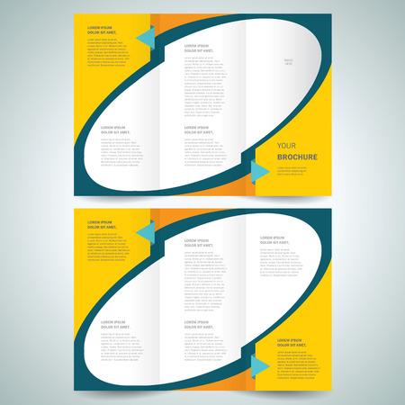 brochure design template vector tri-fold geometric abstract, cmyk profile