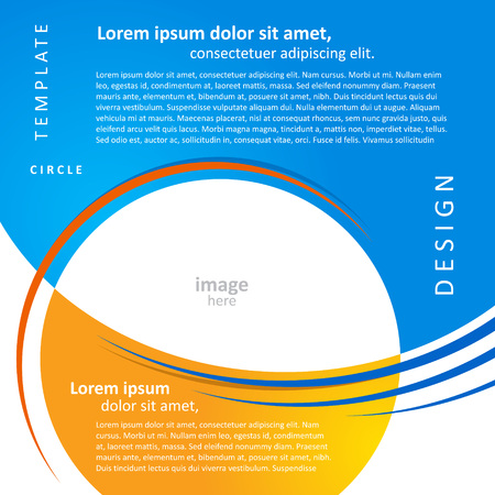 page layout: mock-up design template geometric abstract blue yellow background. brochure, block for image